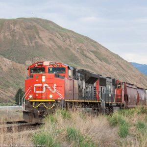 Kamloops, BC is a railhead for the Canadian National Railway. Trains are dangerous to road traffic because these don't keep schedules.