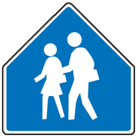 The colour of school signs is NOT yet standardized. However, these are all pentagon shape and have two people thereon.