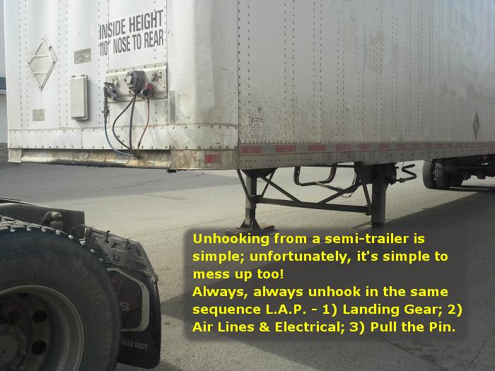 Before unhooking a semi-trailer, ensure that the ground will support the weight of the landing gear.