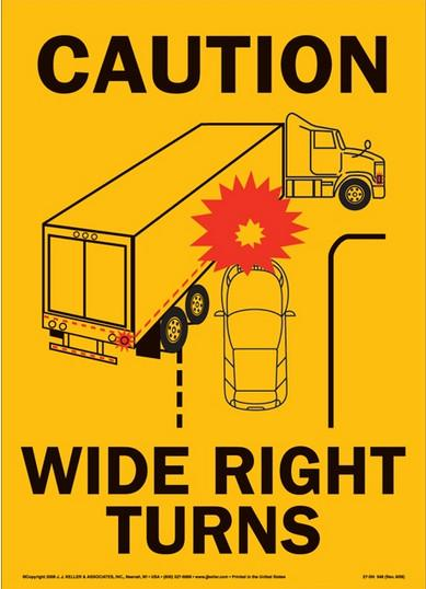 These placards are on the rear of large semi-trailers to warn other traffic that the vehicle makes wide right turns and could side-swipe their vehicle.