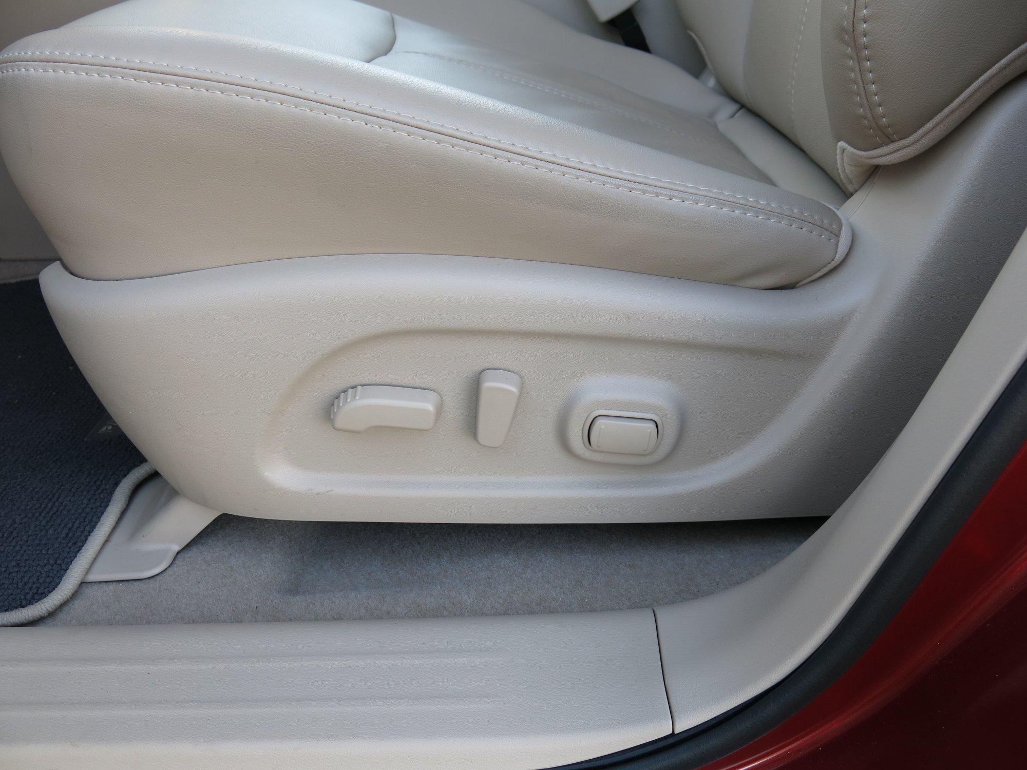 Most newer vehicles will be fitted with power seats. There are often 3 controls: 1) back & forth; 2) tilt of the seat back; 3) tilting of the seat cushion.