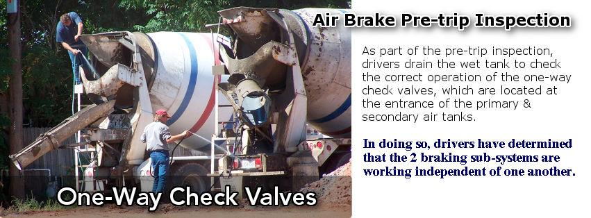 The one-way check valve is primary responsible for the division of the air brake system into a primary and secondary sub-system.
