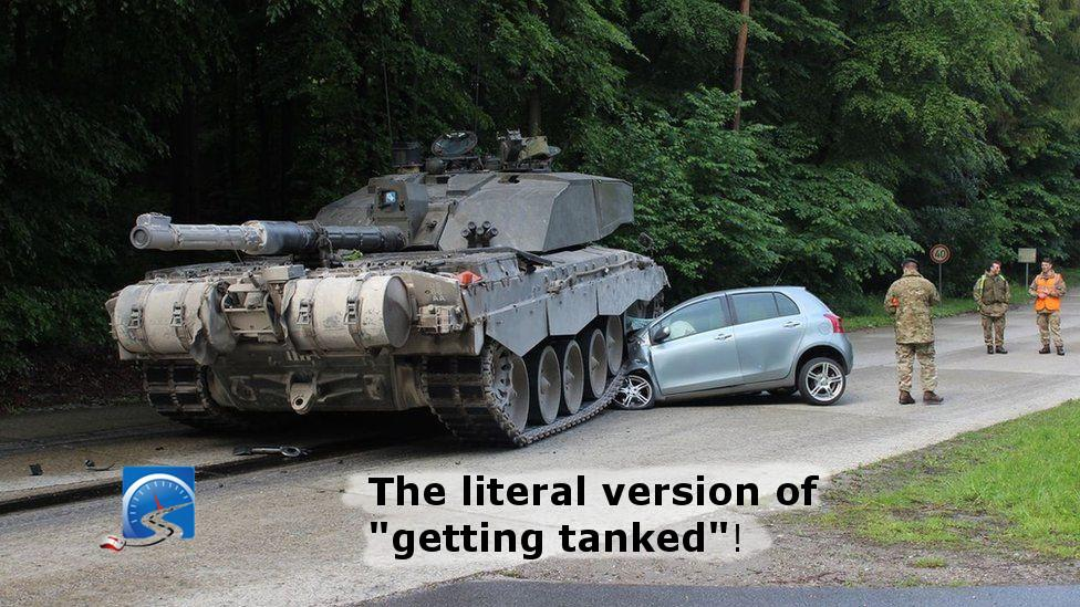 A tank collides with learner driver driving a Toyota Yaris.