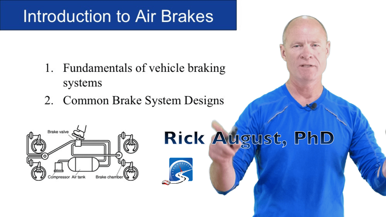 The fundamental components of an air brake system are: foundation brakes, brake chamber, air lines, compressor, brake pedal, governor, and air tanks.