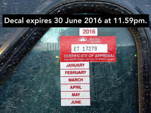 The annual and bi-annual inspection expires on the last day of the month shown on the sticker at 11:59pm. Ensure that you get your inspection done prior to that date or the vehicle cannot be operated and is Out of Service.