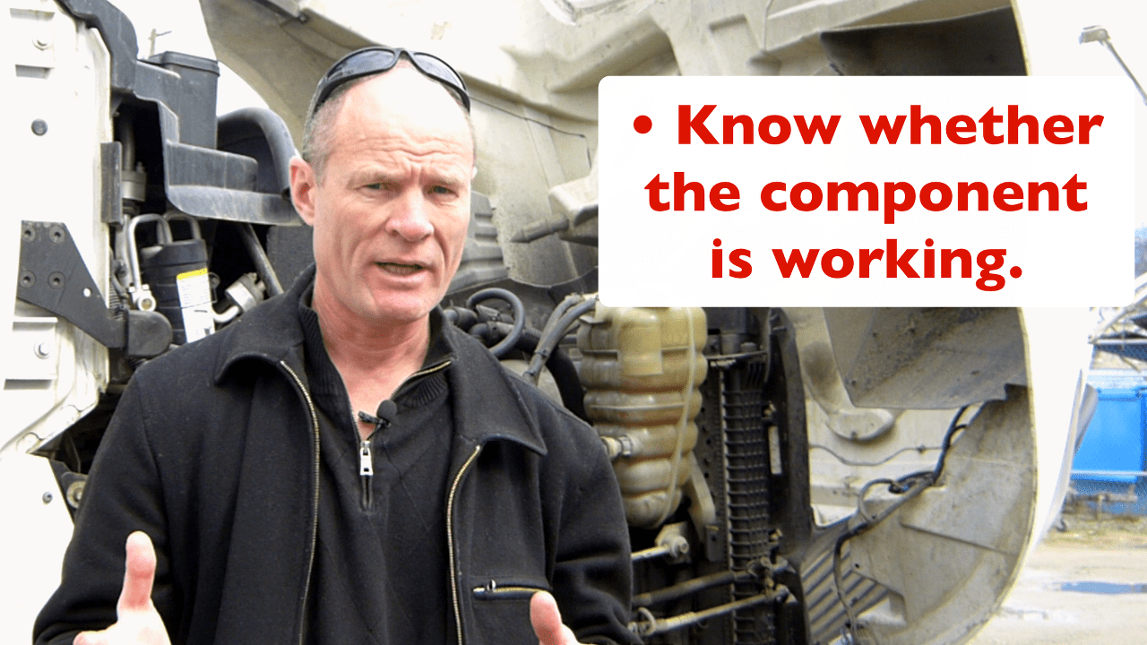 For the purposes of the CDL pre-trip inspection test, you must identify if the component is working and not damaged.