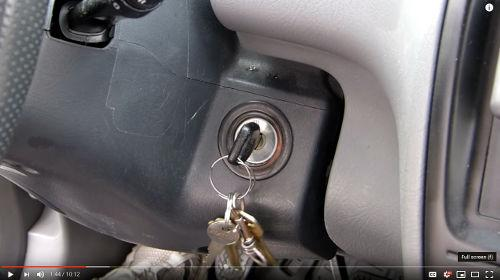 The first step to setting up the vehicle is to put the key in the ignition so it is not misplaced.