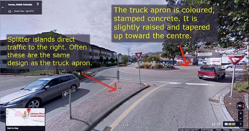 The truck apron in the middle of the roundabout facilitates the off-tracking of larger vehicles and allows these to successfuly navigate a roundabout.