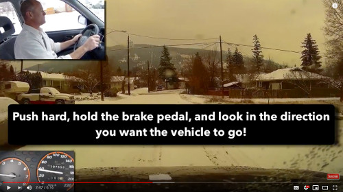 When braking with ABS, hold the brake pedal and steer the vehicle in the direction you want to go.