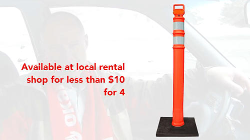 For the purposes of learning to parallel park with cones, you can rent the 3'ft (1m) tall delineators from any industrial equipment rental shop.