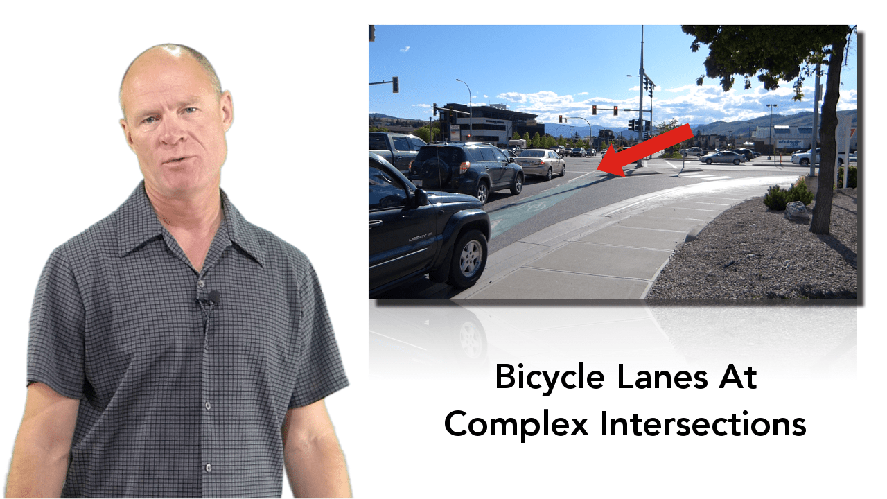 Many slip (turning) lanes have bicycle lanes which you must cross to turn. Know that you must shoulder check before entering the bicycle lane.