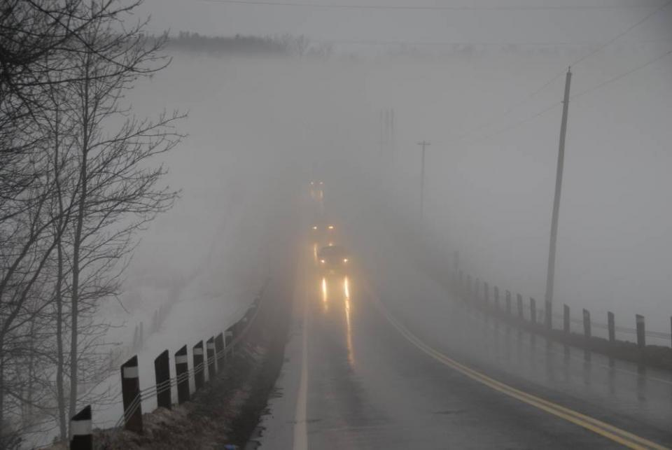 At high elevations you may encounter fog. Drive with your headlights on to be seen, and at a speed that will allow you to make an emergency stop.